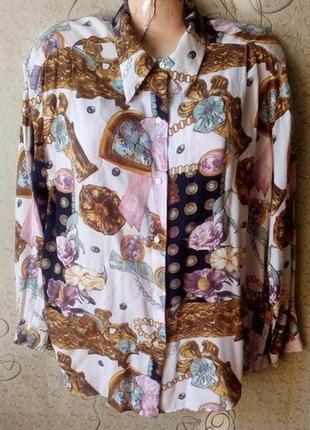 Benneton блуза рубашка в интересный принт.