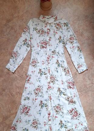 Платье в цветочный принт с длинными рукавами на пуговичках primark