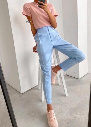 Стильные брюки прямого кроя с высокой талией, голубой