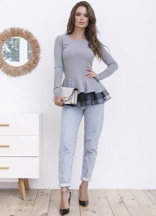 Блуза,  кофточка с баской серая/чёрная