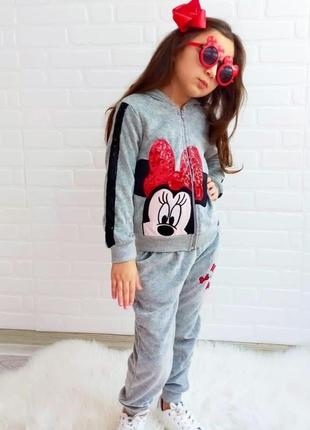 Детский велюровый теплый костюмчик мини мики маус турция для девочки