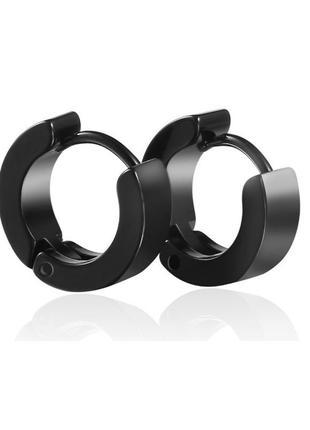 Крутые серьги унисекс сережки черный кольцо рок 2шт