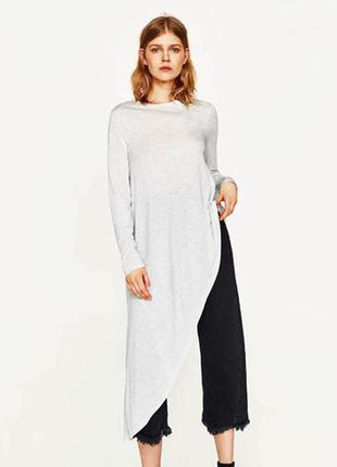 Удлинённый серый пуловер zara, m