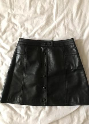 Кожаная мини-юбка h&m