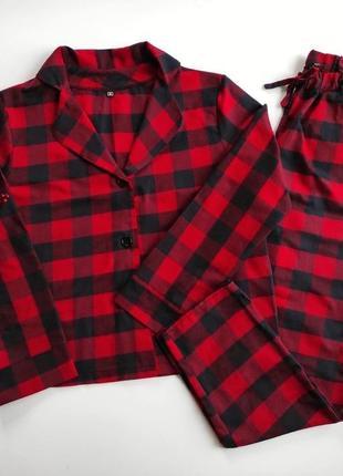Женская пижама с рубашкой в красную клетку