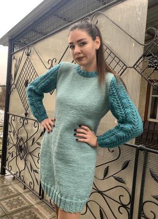 Женское вязаное ажурное платье из ангоры/полушерсть ручная работа