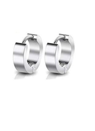 2шт крутые серьги унисекс сережки серебристый кольцо рок