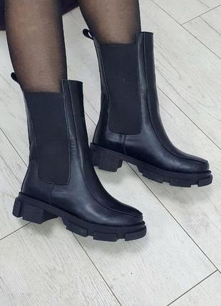 Супер цена!!! последние 3 пары! высокие ботинки натуральная кожа + мех bottega {боттега}