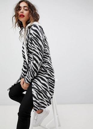 Шикарное пальто в принт зебра boohoo