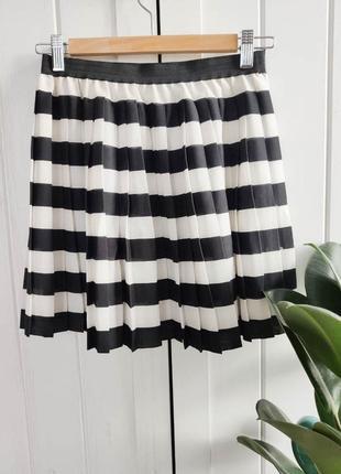 Шифоновая юбочка плиссе в полоску, размер s