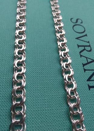 Массивная мужская серебряная цепочка цепь бисмарк, срібний ланцюг