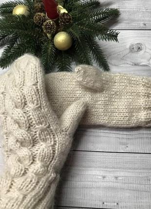 Варежки вязаные митенки мохер шерсть белые бежевые серые варежки митенки пушистые
