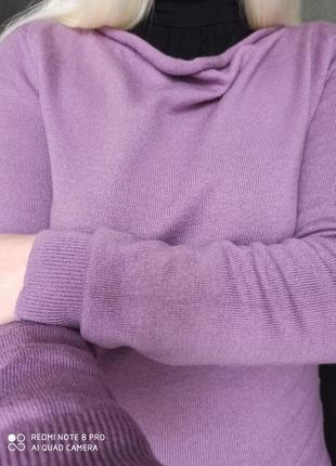 Шерстяной лавандовый пуловер /ворот водопад.