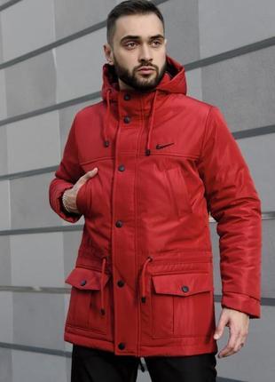 Мужская зимняя очень тёплая парка с капюшоном и карманами nike