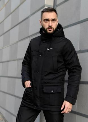 Мужская зимняя очень тёплая куртка парка с капюшоном и карманами nike