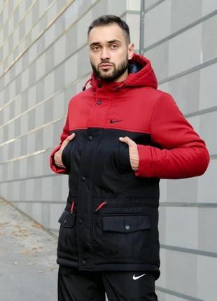 Мужская зимняя куртка парка очень тёплая с капюшоном и карманами nike