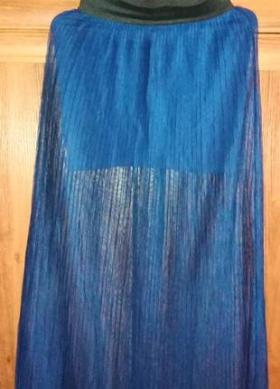 Плиссерованная юбка макси, длинная юбка сетка фирменная