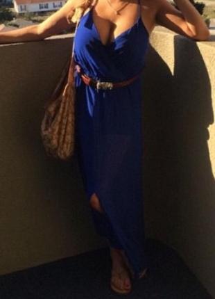 "Платье макси  ""miami blues"" из яркого шифона на бретелях l и xl"