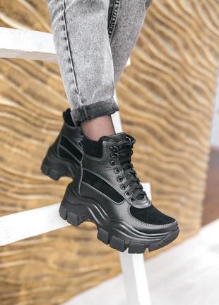 Женские кожаные ботинки на массивной подошве, байка/мех