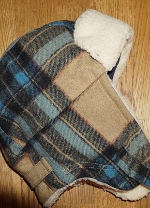 Шапка ушанка теплая зимняя детская на 54-56 размера