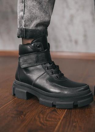 Ботинки с итальянской кожи байка/мех