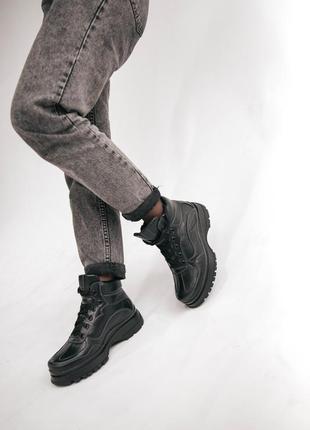 Кожаные женские ботинки, байка/мех