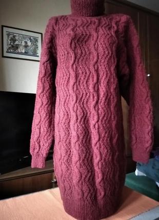 Новый свитер-платье оверсайз ручной вязки