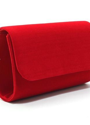 Вечерняя маленькая красная сумка-клатч на цепочке выпускная велюровая
