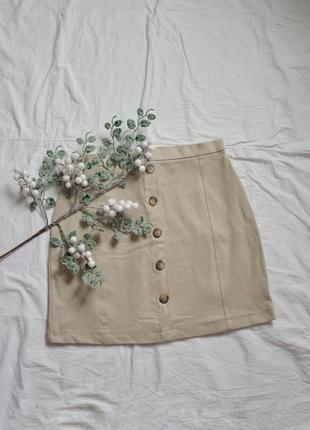 Мини юбка со стильными пуговичками велюровая esprit