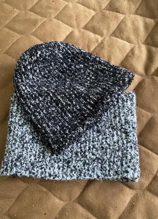 Тёплая шапка и шарф снуд cos шерсть