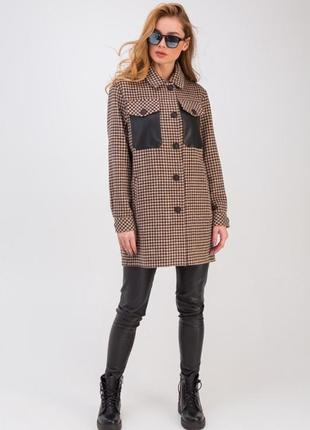 Пальто- рубашка в клетку с кожаными карманами «кьяра» коричневая