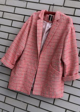 Легкое,розовое,букле пальто без застежки,жакет,пиджак,кардиган,большой размер
