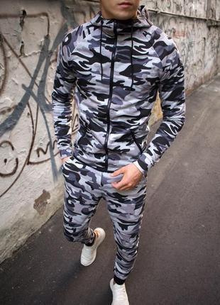Мужской спортивный трикотажный костюм толстовка с капюшоном и штаны камуфляжный