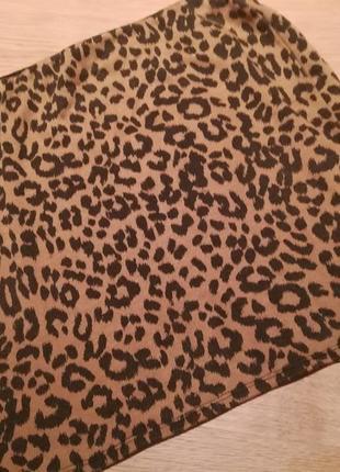 Трикотажная мини юбочка в леопардовый принт
