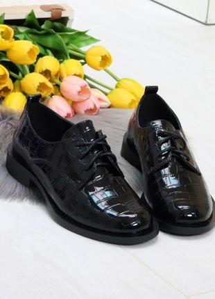 """Туфли """"desire""""  черные- структурированная экокожа/лак"""