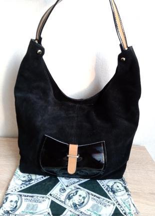 Шикарная, добротная сумка натуральная замша
