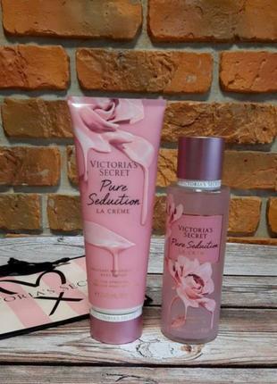 Парфюмированный набор: спрей + лосьон + пакет victoria's secret pure seduction la creme