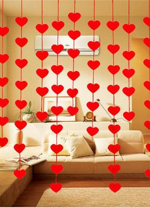 Гирлянда красные сердечки, украшение на день святого валентина