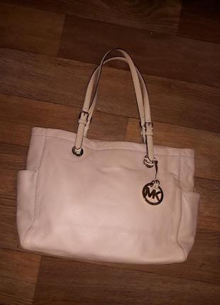 Кожаная брендовая сумка michael kors! оригинал !