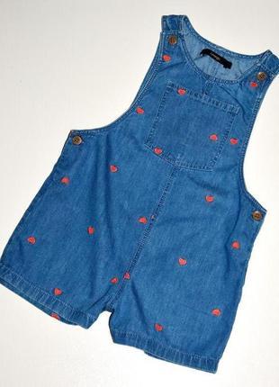 George  летний комбинезон под джинс с вышитыми сердечками. 2-3 года