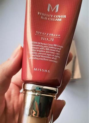 Bb cream missha perfect cover spf42/pa++ 21 відтінок