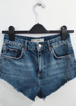 Шорты джинсовые на высокой посадке topshop