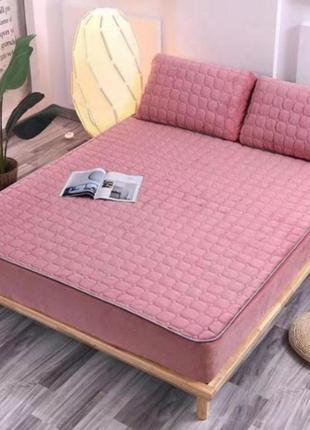 Велюровый наматрасник простынь без подушок отличное качество 150×200