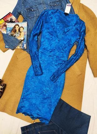 River island платье голубое кружевное гипюр новое карандаш футляр длинный рукав