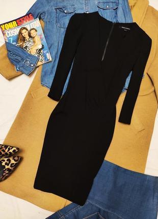 French connection платье чёрное карандаш футляр по фигуре трикотажное классическое