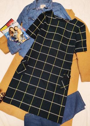 Dorothy perkins платье зелёное изумрудное бутылочное клетчатое прямое белое жёлтое
