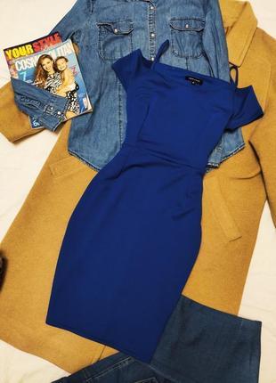 New look платье синее электрик голубое с открытыми плечами по фигуре