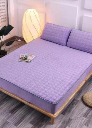Велюровый наматрасник простынь без подушек отличное качество 150×200