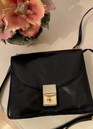 Черная кожаная сумочка сумка через плечо натуральная кожа