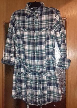 Теплая рубашка в клетку (на кнопках)